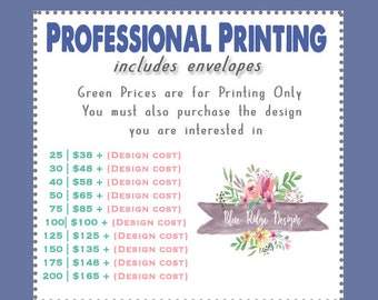 Printed Invitations 5x7 with Envelopes