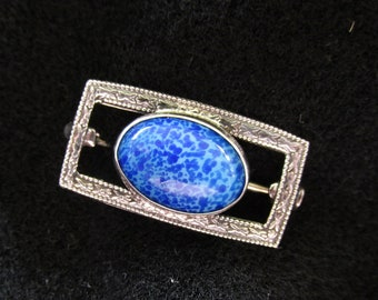 Vintage Antique Sterling Silver Brooch Pin Blue Glass Cabochon Decorative Frame
