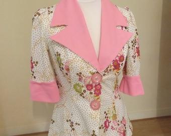 vintage 60s crimplene floral jacket blouse small 8 10