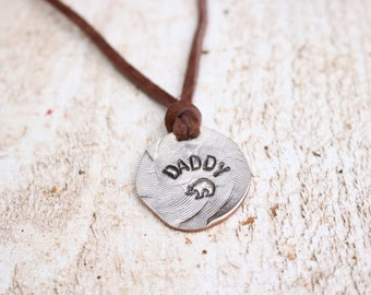 Daddy Bear Necklace,Papa Bear Necklace,,gift for fisherman,grandfather gift,men's jewelry,name necklace