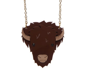 Bison Necklace - laser cut acrylic