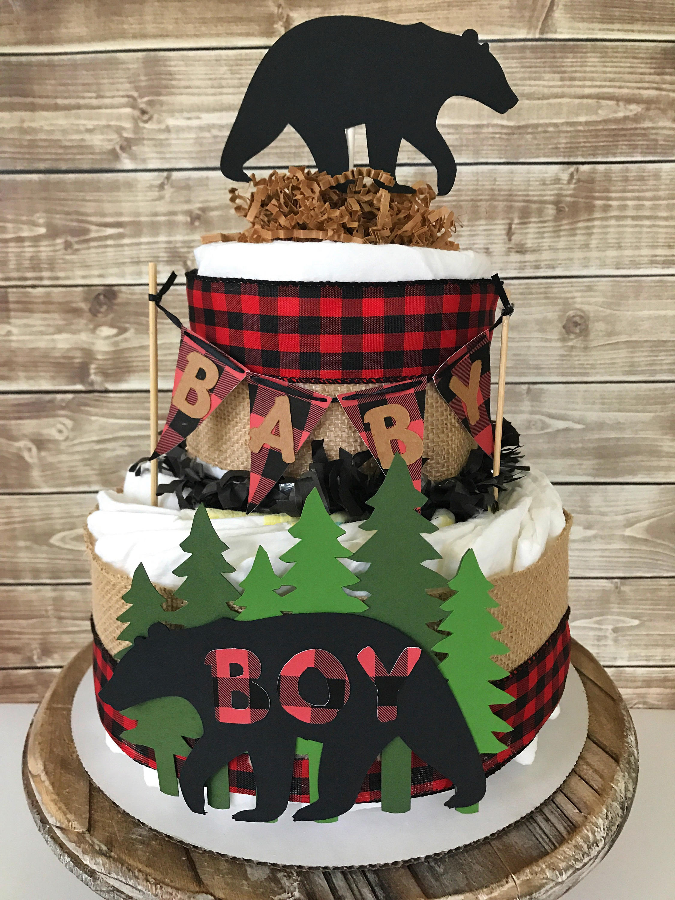 Baby Shower Cake Red And Black Checkered