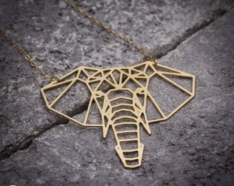Elephant necklace geometric jewelry geometric elephant animal necklace geometric necklace elephant jewelry elephant charm gift for her