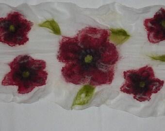 White felted scarf with red poppies felted Ecru chiffon silk (nunofelt)