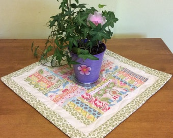 Quilted square table topper, Spring colors, Mother's Day gift, Homemade quilted, table linens, tablerunner