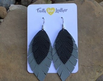 Feathered and Free layered leather feather earrings black and gray