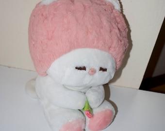 Dakin Frou Frou Stuffed Plush Animal 1982 White Pink