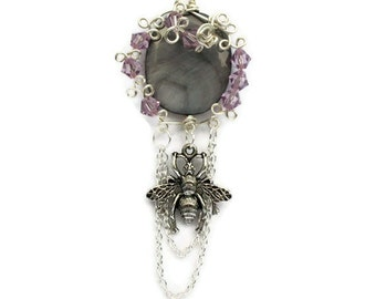 Necklace Shell Amethyst Swarovski Crystal