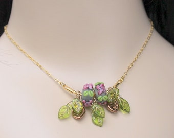 Cottage Chic Necklace, Lampwork Glass Beads with Pink Flowers and Green Leaves, Glass Leaves, Wire Wrapped, Gold Plate, Summertime Jewelry