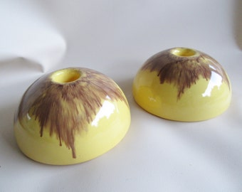 Mid Century Candle Holders; Mid Century Decor, Mid Century Candle Holders, MCM Candle Holders, Pottery Candle Holders