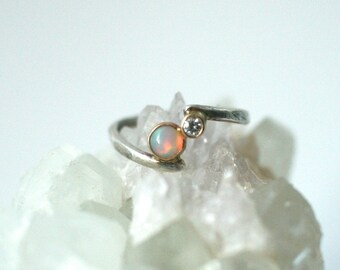 opal engagement ring, vintage antique style two stone ring, you and me, moissanite diamond opal ring, two stone, fire opal,