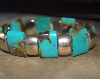 Turquoise and Silver Stretch Cuff Bracelet