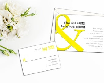 Modern Bold Wedding Invitations, Simple Bold Colorful Invitations, Response Cards, Thank yous, Modern Simplicity, Custom Wedding Receptions
