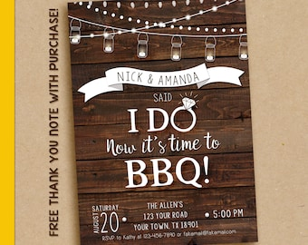 I Do BBQ Invitation, I do BBQ Engagement party, I do BBQ couples shower, Bbq Invitation