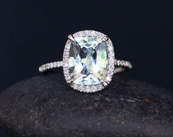 Cushion Aquamarine Engagement Ring in 14k White Gold with Aquamarine Cushion 10x8mm and Diamonds