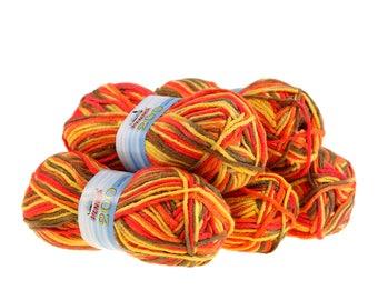 5 x 100g knitted yarn 200 by VLNIKA, #18 Summerflower