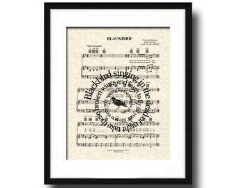 Blackbird Song Lyric Sheet Music Art Print, Spiral Words, Music Wall Art, Music Post Art, Home Decor, Music Gallery Art