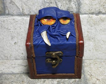 Desk Organizer Trinket Dice Mimic Box Small Storage Treasure Chest Stash Blue Leather Harry Potter Labyrinth Gamer MTG Card Box 258