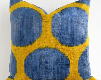 Handwoven pillow, lumbar pillow, velvet ikat pillow, eclectic home decor, blue yellow, persian pillows, throw pillows, designers pillow