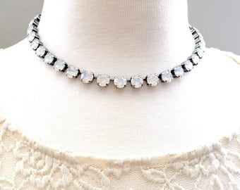SIMPLY GRACE COLLECTION • White Opal • Swarovski Crystal Necklace