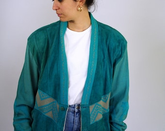 Vintage 80s Rare Turquoise Blue Suede Leather Jacket Soft Shoulder Pad  Men Mens Women XL L Large