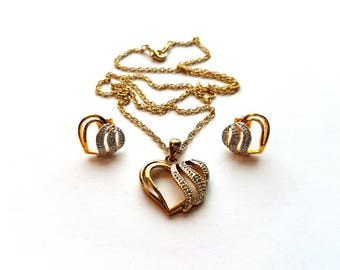 Vintage Gold Necklace with Heart with Rhinestone Pendant and Matching Pierced Earrings SET