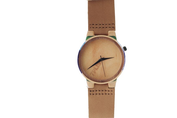 7PLIS watch #109 Recycled SKATEBOARD #madeinfrance yellow brown green wood