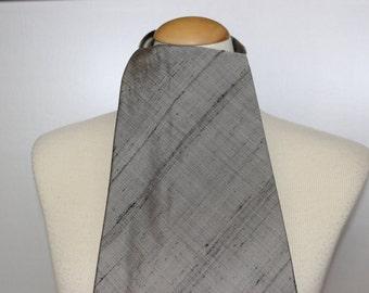 Vintage Ascot Cravat Raw Silk Walter Handley Hand Made Silver Grey