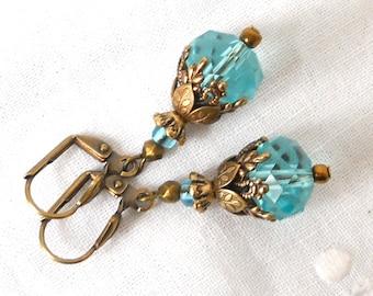 victorian earrings sea blue earrings victorian dangle earrings turquoise earrings brass filigree earrings vintage style earrings