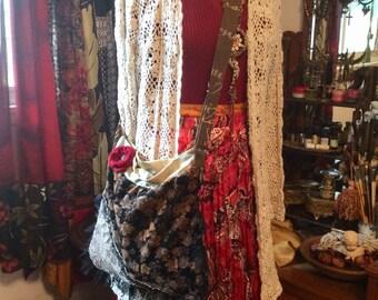 Black Brown Bag, thick vintage fabric, black lace trim, adjustable strap, zipper pocket