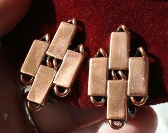 Vintage Renoir Copper Clip On Earrings, Art Deco Earrings, Modern Art Copper Clip On Earrings, Mid Century Modernist Earrings, Copper