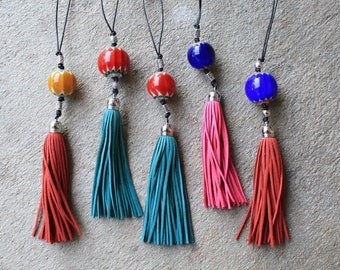 Murano glass ball with tassel rear view mirror charm, rearview mirror charm