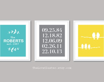 Custom Family Prints - Family Name and Dates Print - Birds Family Print - Hallway Wall Art - Blue Grey Yellow - The Love Cluster
