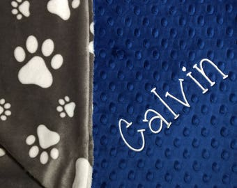 Pet Blanket Royal Blue Dog Blanket Personalized Dog Blanket Puppy Blanket Bulldogs Fan Blanket Houndogs Fan Blanket Paw Print