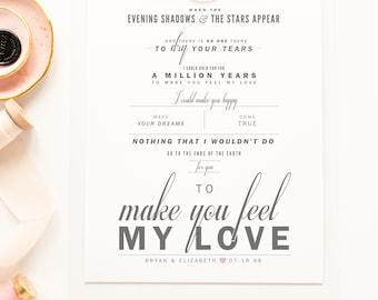 "Bob Dylan ""To Make You Feel My Love"" - Grey and Blush - Valentine's, Wedding Gift, Paper Anniversary Gift, Song Lyrics, Art Print"