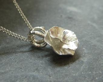 Peony Rose flower pendant: Handmade sterling silver
