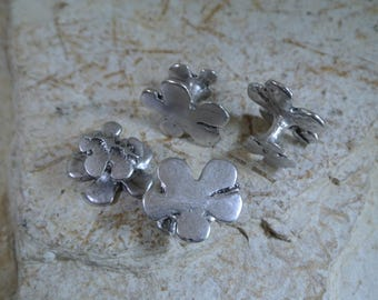 Set of 2 pretty cufflinks floral design, 17 x 14 mm, thickness: 9 mm, silver