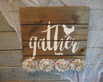 Gather Here Sign - Farmhouse Sign - Wall Art - Rustic Wall Signage - Farmhouse Decor - Wood Slat Sign - Home Decor