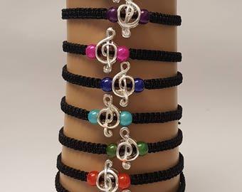 Music charm bracelet - music note charm - music lover gift - music jewelry - music bracelet - musical cleft - music charm - music
