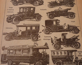 French Lithograph - Automobiles - 1920s engraving - original page from French Dictionary - Petit Larousse