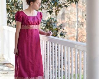 Regency Ball Gown, Jane Austen Dress, Pride and Prejudice Costume, Vintage Saree, Fuschia Misses Size 6