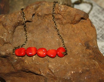 Red Rock Bead Bar Necklace