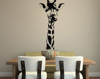 Giraffe Head Wall Decal- Giraffe Decal- Wild Animals Jungle Wall Decal- Safari Wall Decal- Animal Wall Decal- Wall Decal Animals 116