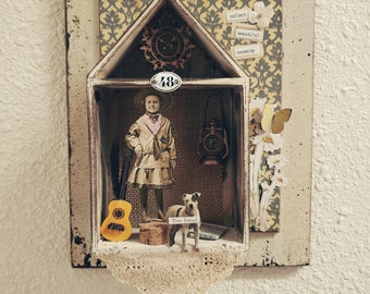 """3D Paper doll mixed media art collage """"collect beautiful moments"""""""