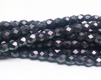 4mm Polychrome Black Raspberry, Fire Polish Czech glass faceted round, 23980-29014 40 beads