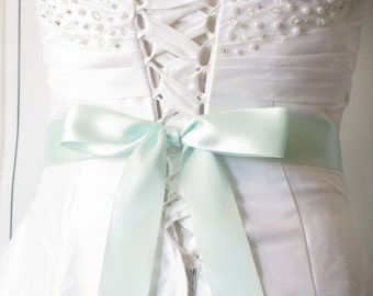 "Ice Blue Bridal Sash, 1 1/2"" or 2 1/4"" wide, 2-4 Yards, Bridesmaids / Flower Girl Sash, Plain Dress Sash, Light Blue Bridal Wedding Belt"
