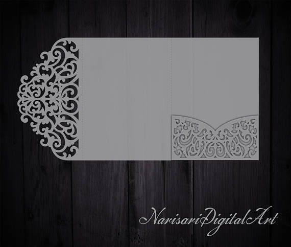 TriFold 5x7 Wedding Invitation Pocket Envelope SVG Template