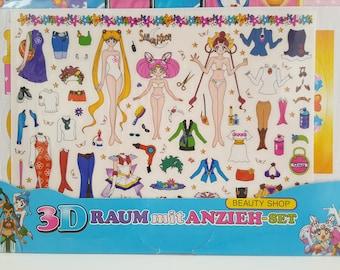 Official Sailor Moon Paper Doll Sticker Beauty Shop Doll House - Super Moon , Sailor Chibi Moon & Amazoness Quartett CereCere