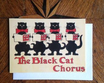 The Black Cat Chorus Vintage Greeting Card Repro.