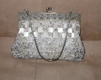 Vintage Pewter Gray & White Beaded Evening Bag Purse
